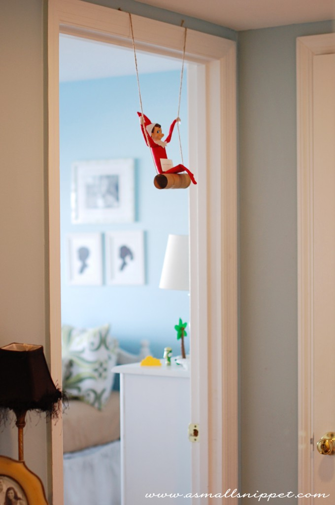 Elf on the shelf on a swing 25 days of elf on a shelf mommymafia com