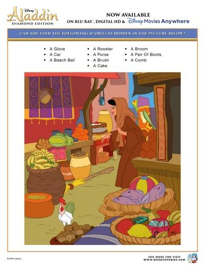 Disney Aladdin Activity Pages