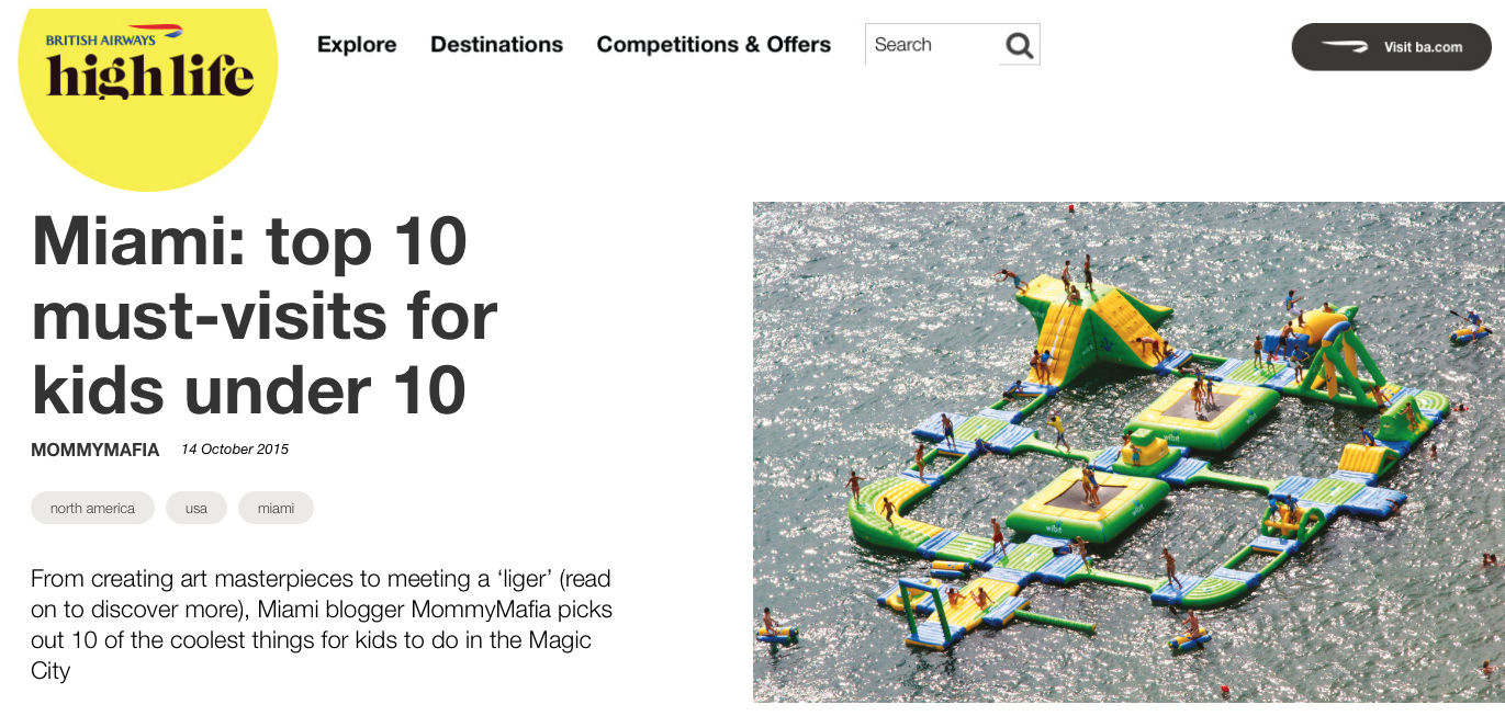 Miami Blogger Mommy Mafia featured British Airways High Life; Top 10 must visits for kids under 10