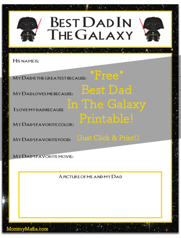 Let Dad know that he's the greatest father in the galaxy! Free Star Wars Father's Day printable. Little Jedi will make this a thoughtful keepsake that any Darth Vader Dad will cherish. My Darth Vader Dad MommyMafia.com