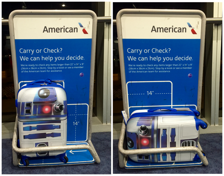 R2D2 Suitcase size; Star Wars Suitcase; Travel with kids